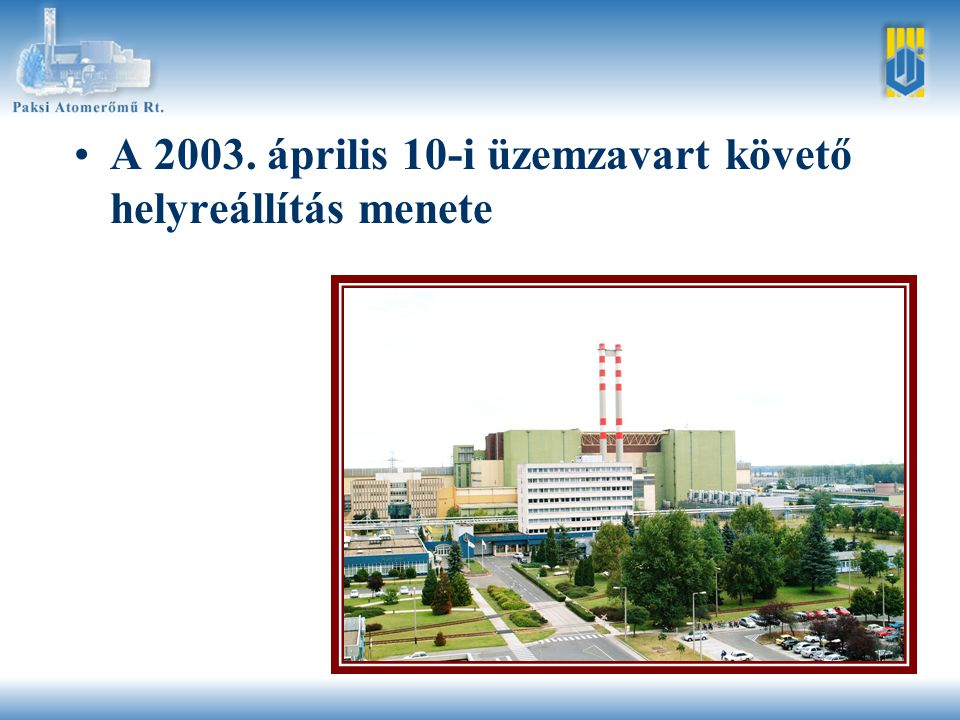 •A 2003. április 10-i üzemzavart követő helyreállítás menete