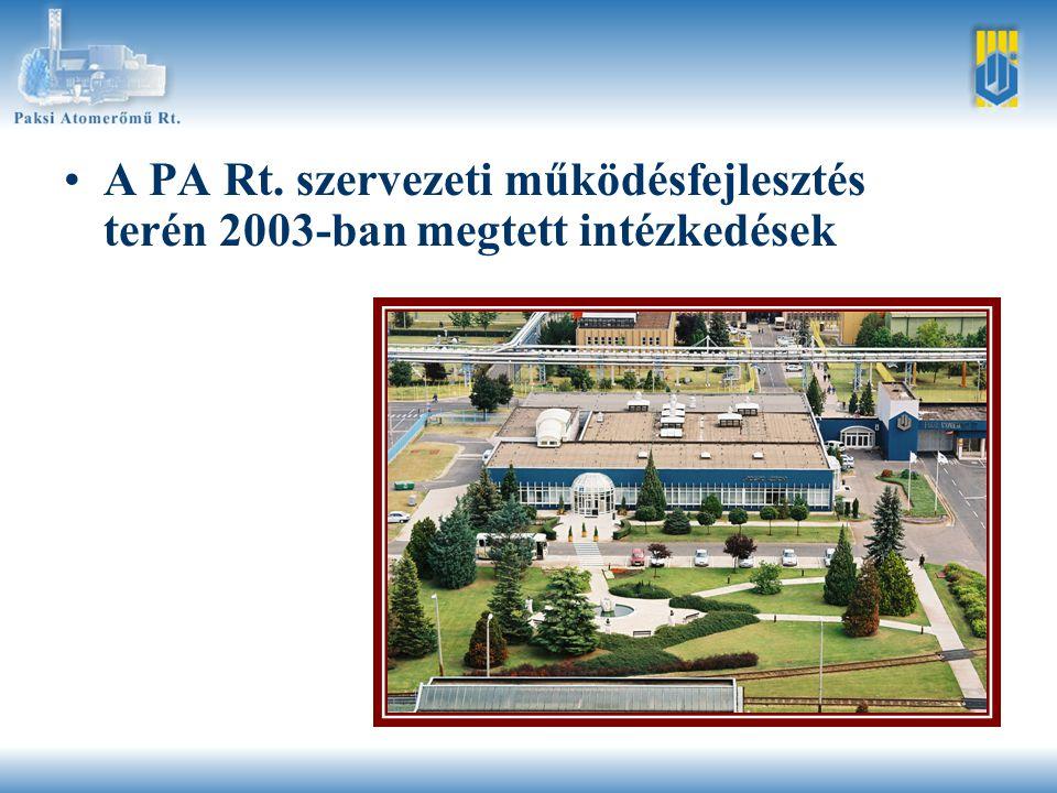 •A PA Rt. szervezeti működésfejlesztés terén 2003-ban megtett intézkedések