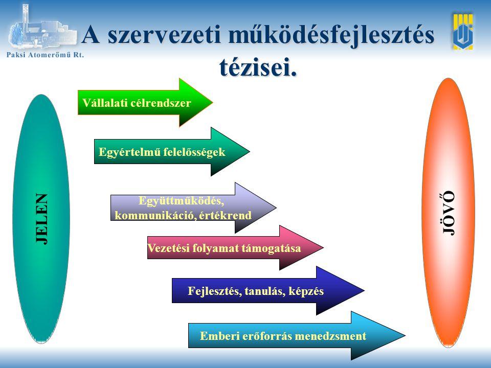 Összefüggések a szervezeti diagnózis és a tézisek megállapításai között.