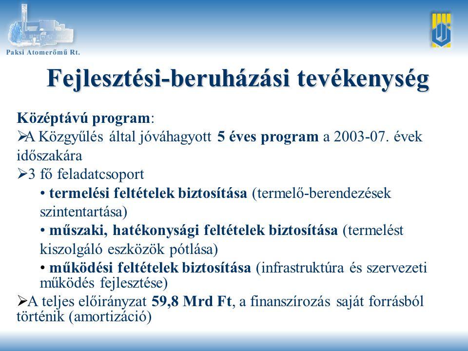Fejlesztési-beruházási tevékenység Középtávú program:   A Közgyűlés által jóváhagyott 5 éves program a 2003-07.