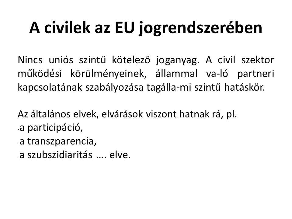 A civilek az EU jogrendszerében Nincs uniós szintű kötelező joganyag.