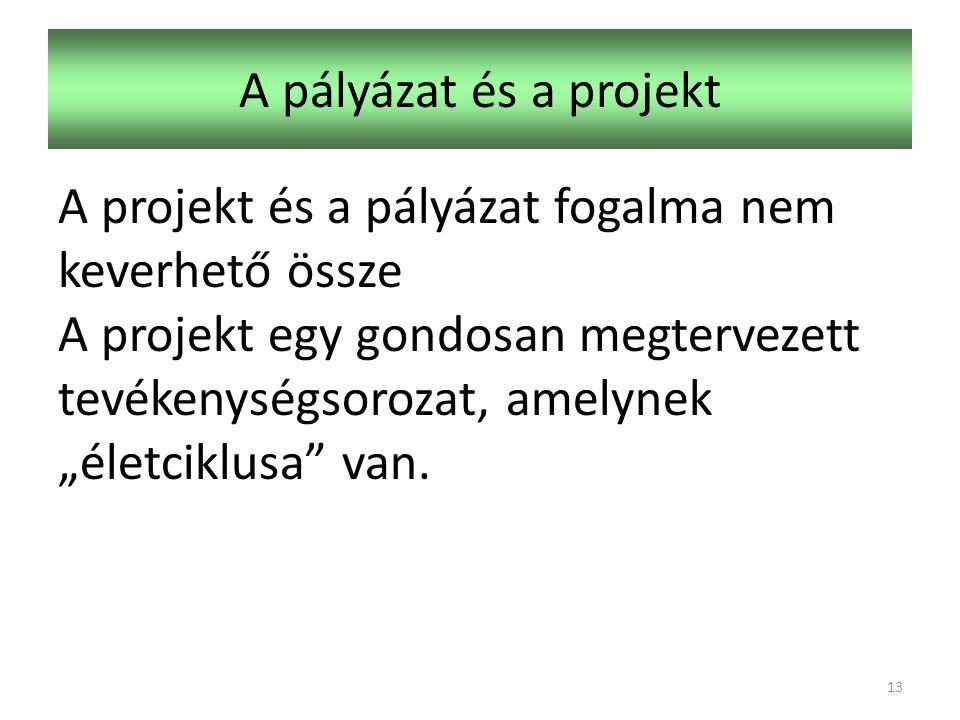 """A pályázat és a projekt A projekt és a pályázat fogalma nem keverhető össze A projekt egy gondosan megtervezett tevékenységsorozat, amelynek """"életciklusa van."""