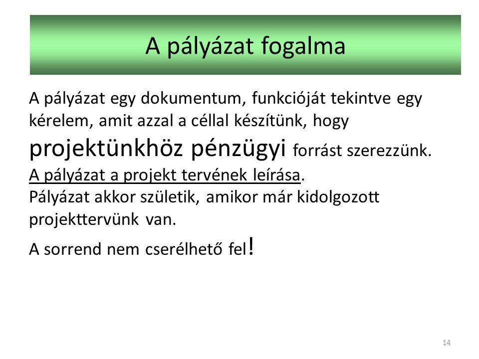 A pályázat fogalma A pályázat egy dokumentum, funkcióját tekintve egy kérelem, amit azzal a céllal készítünk, hogy projektünkhöz pénzügyi forrást szerezzünk.