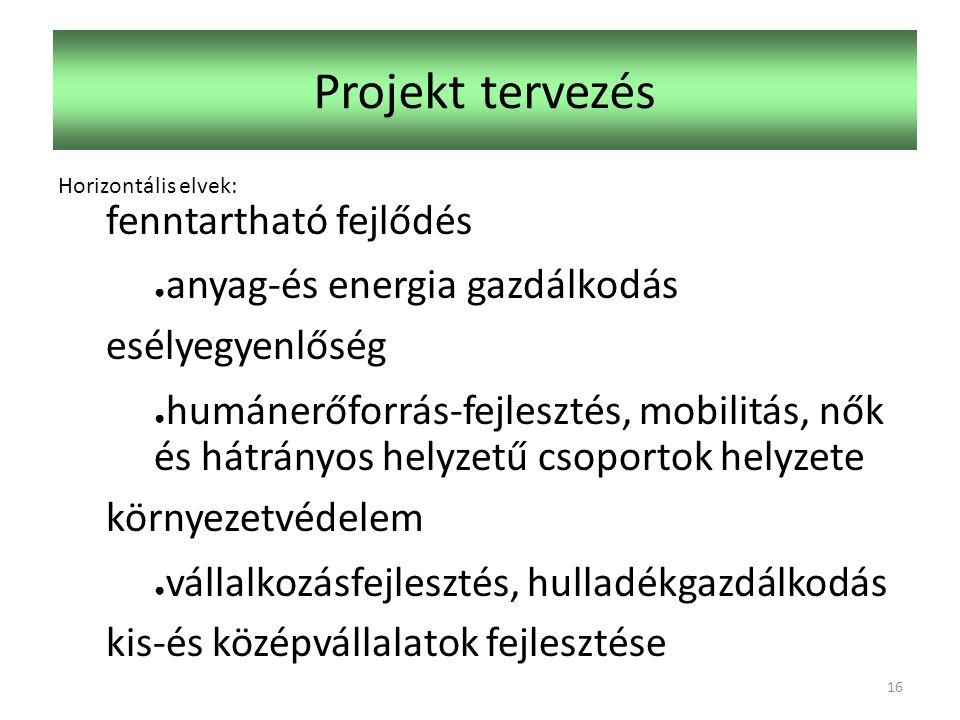Projekt tervezés Horizontális elvek: fenntartható fejlődés ● anyag-és energia gazdálkodás esélyegyenlőség ● humánerőforrás-fejlesztés, mobilitás, nők és hátrányos helyzetű csoportok helyzete környezetvédelem ● vállalkozásfejlesztés, hulladékgazdálkodás kis-és középvállalatok fejlesztése 16