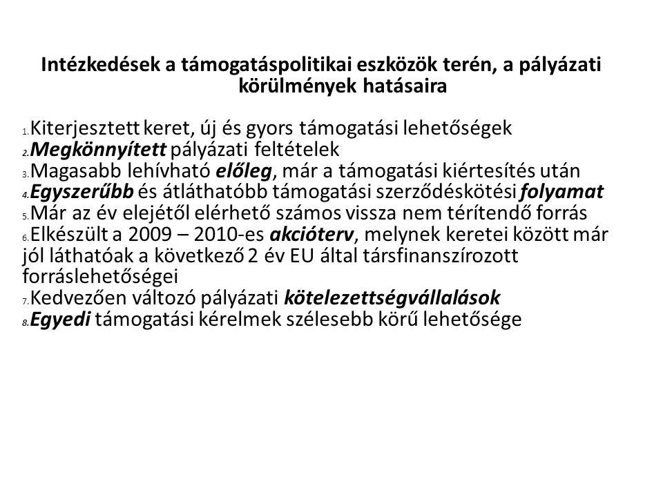 Intézkedések a támogatáspolitikai eszközök terén, a pályázati körülmények hatásaira 1.