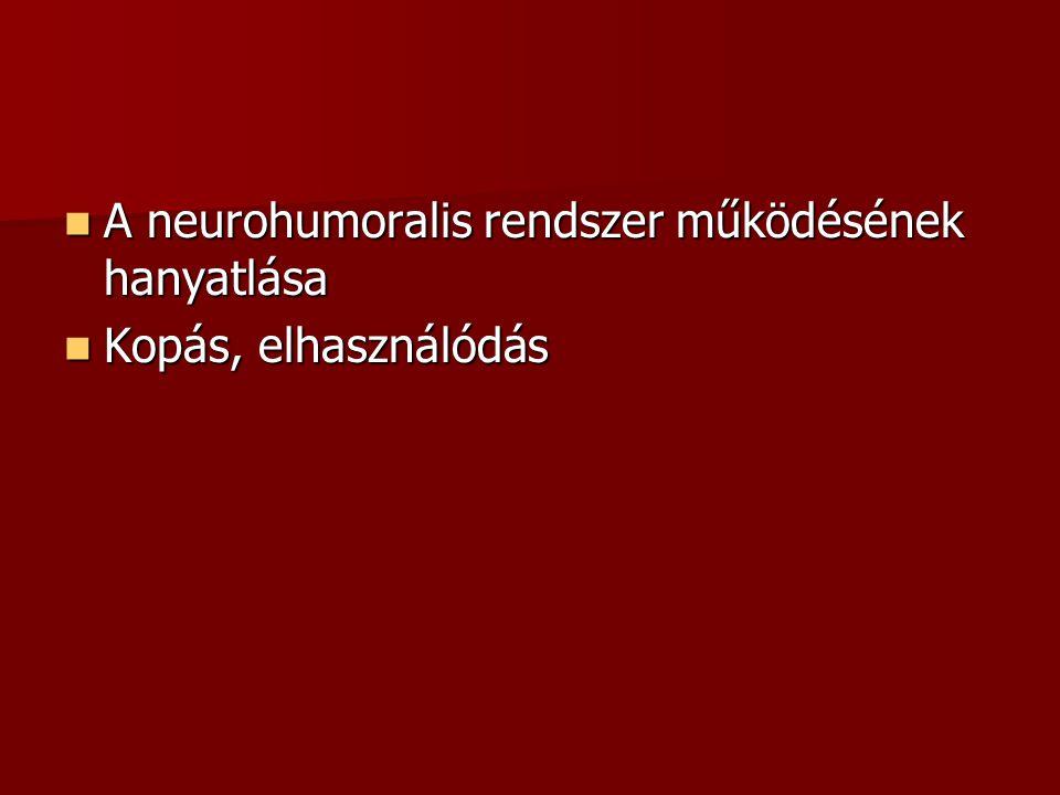  A neurohumoralis rendszer működésének hanyatlása  Kopás, elhasználódás