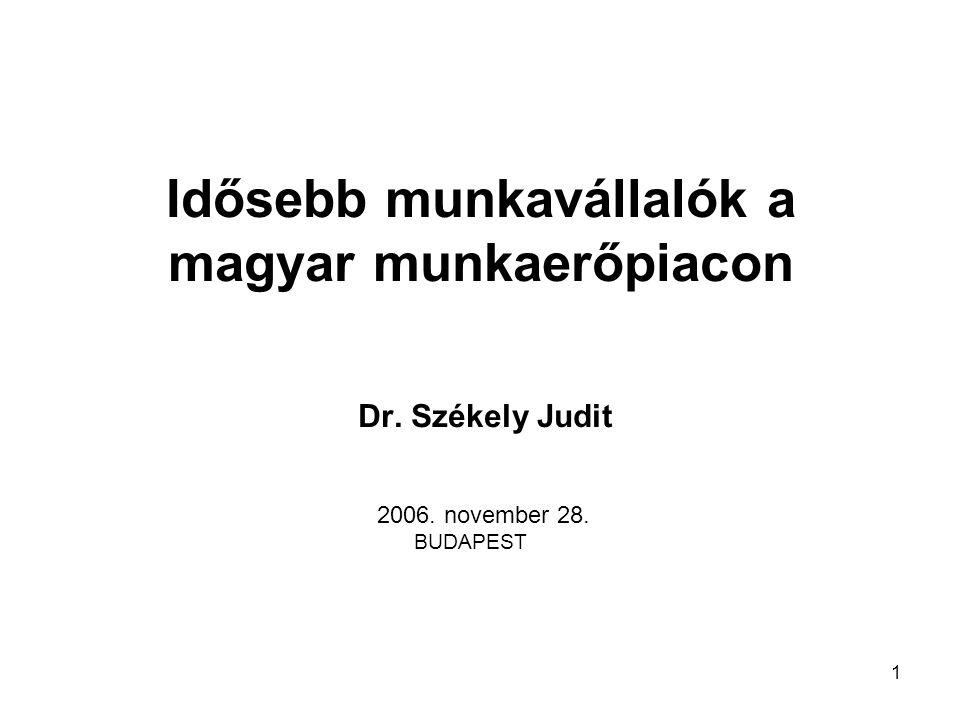 1 Idősebb munkavállalók a magyar munkaerőpiacon Dr. Székely Judit 2006. november 28. BUDAPEST