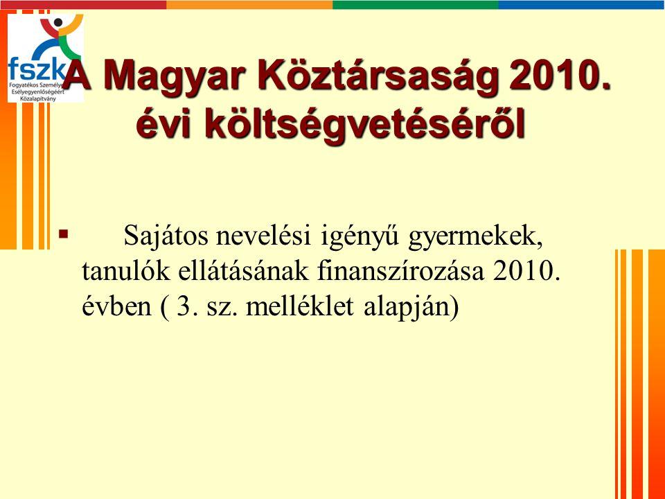 A Magyar Köztársaság 2010. évi költségvetéséről A Magyar Köztársaság 2010.