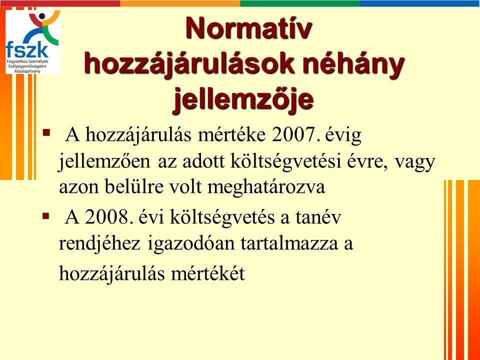 Normatív hozzájárulások néhány jellemzője Normatív hozzájárulások néhány jellemzője  A hozzájárulás mértéke 2007.