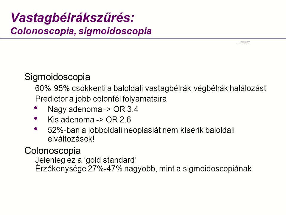 Sigmoidoscopia 60%-95% csökkenti a baloldali vastagbélrák-végbélrák halálozást Predictor a jobb colonfél folyamataira • Nagy adenoma -> OR 3.4 • Kis adenoma -> OR 2.6 • 52%-ban a jobboldali neoplasiát nem kísérik baloldali elváltozások.