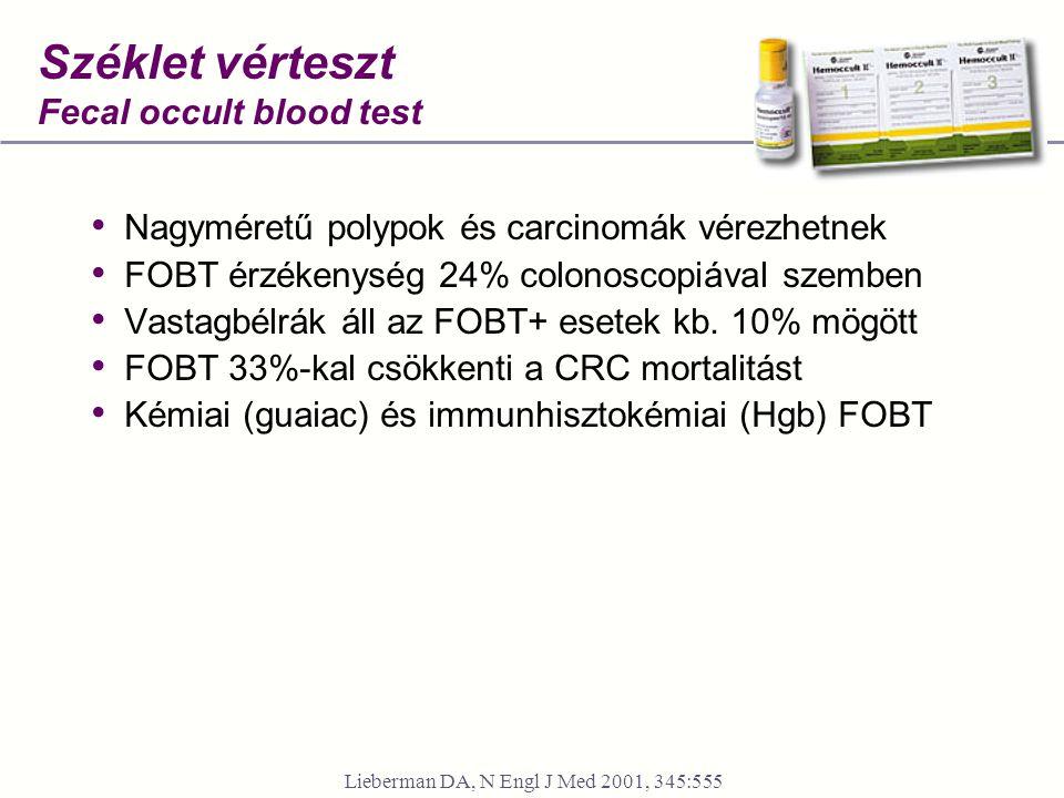 Széklet vérteszt Fecal occult blood test • Nagyméretű polypok és carcinomák vérezhetnek • FOBT érzékenység 24% colonoscopiával szemben • Vastagbélrák áll az FOBT+ esetek kb.