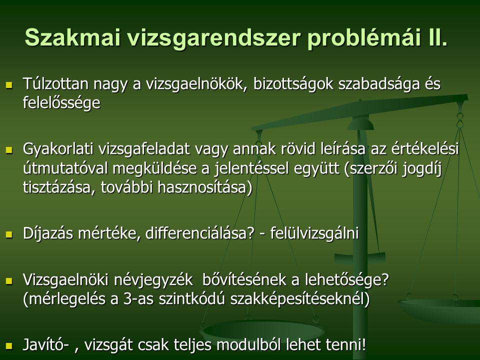 Szakmai vizsgarendszer problémái II.
