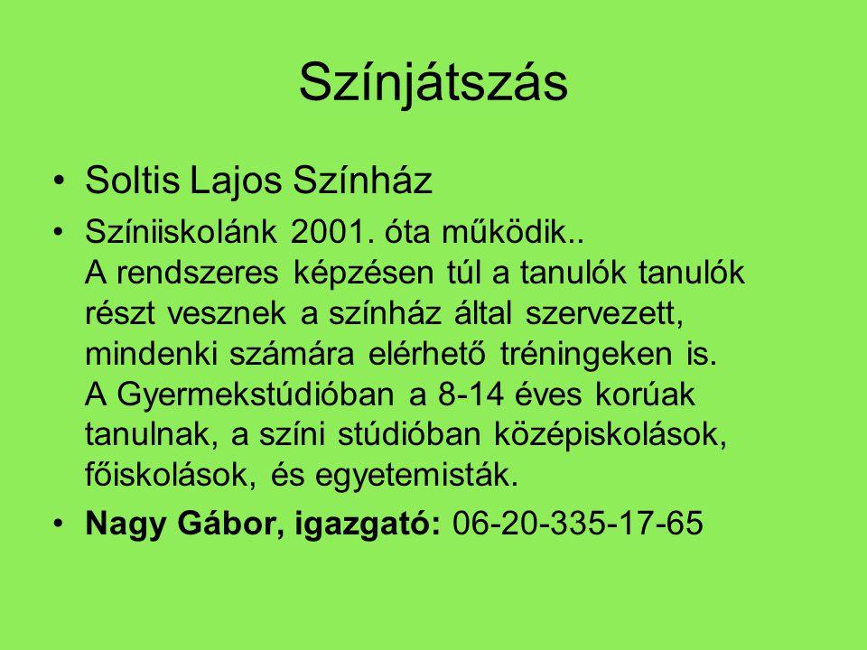 Színjátszás •Soltis Lajos Színház •Színiiskolánk 2001. óta működik.. A rendszeres képzésen túl a tanulók tanulók részt vesznek a színház által szervez