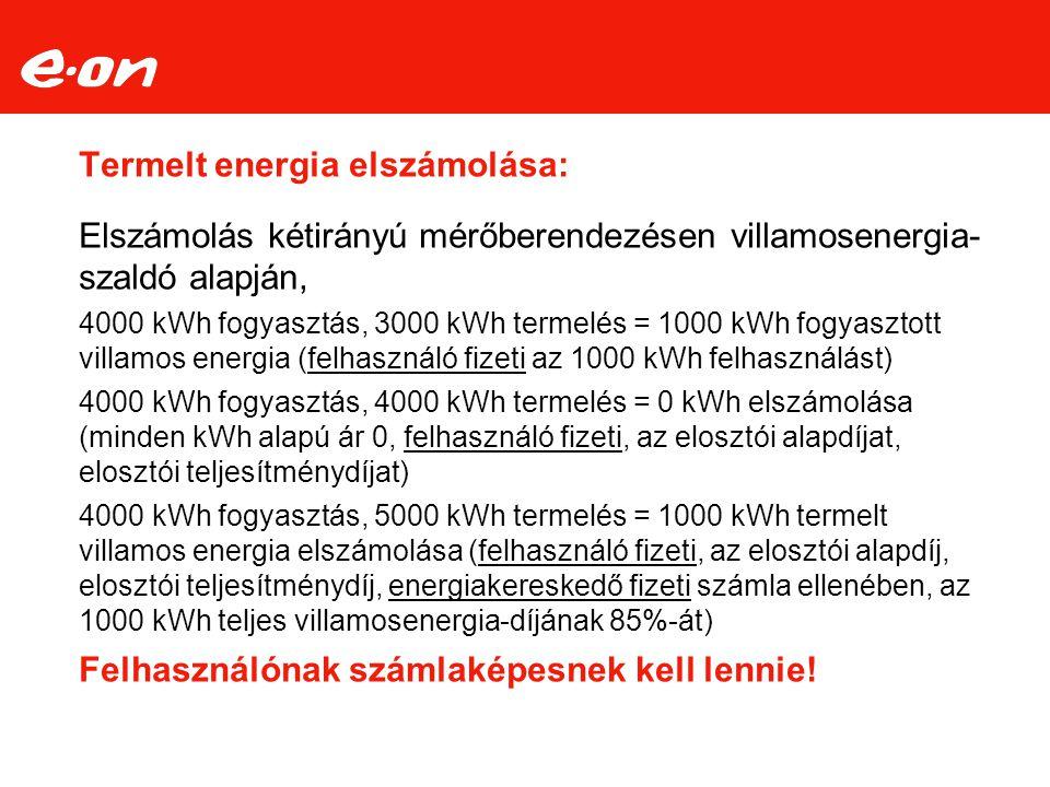 Termelt energia elszámolása: Elszámolás kétirányú mérőberendezésen villamosenergia- szaldó alapján, 4000 kWh fogyasztás, 3000 kWh termelés = 1000 kWh