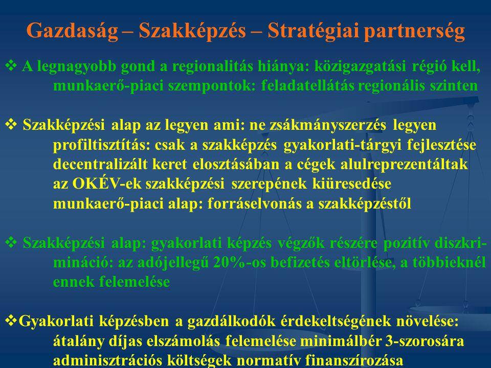 Gazdaság – Szakképzés – Stratégiai partnerség   A legnagyobb gond a regionalitás hiánya: közigazgatási régió kell, munkaerő-piaci szempontok: felada