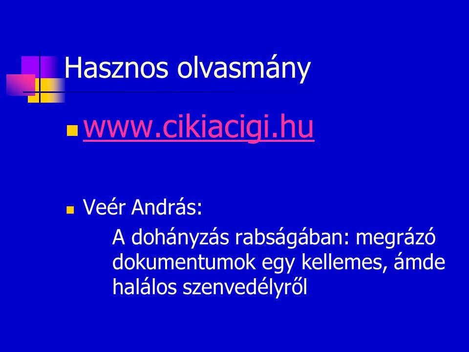Hasznos olvasmány  www.cikiacigi.hu www.cikiacigi.hu  Veér András: A dohányzás rabságában: megrázó dokumentumok egy kellemes, ámde halálos szenvedél