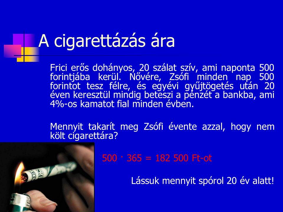 A cigarettázás ára Frici erős dohányos, 20 szálat szív, ami naponta 500 forintjába kerül. Nővére, Zsófi minden nap 500 forintot tesz félre, és egyévi