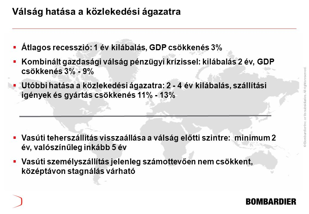 © Bombardier Inc. or its subsidiaries. All rights reserved. Válság hatása a közlekedési ágazatra  Átlagos recesszió: 1 év kilábalás, GDP csökkenés 3%