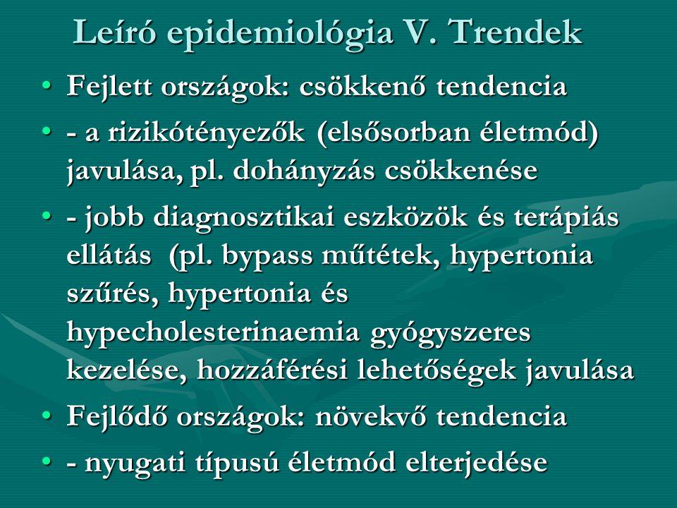 Leíró epidemiológia V. Trendek •Fejlett országok: csökkenő tendencia •- a rizikótényezők (elsősorban életmód) javulása, pl. dohányzás csökkenése •- jo
