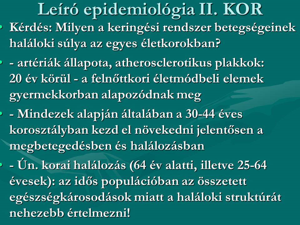 Leíró epidemiológia II. KOR •Kérdés: Milyen a keringési rendszer betegségeinek haláloki súlya az egyes életkorokban? •- artériák állapota, atheroscler