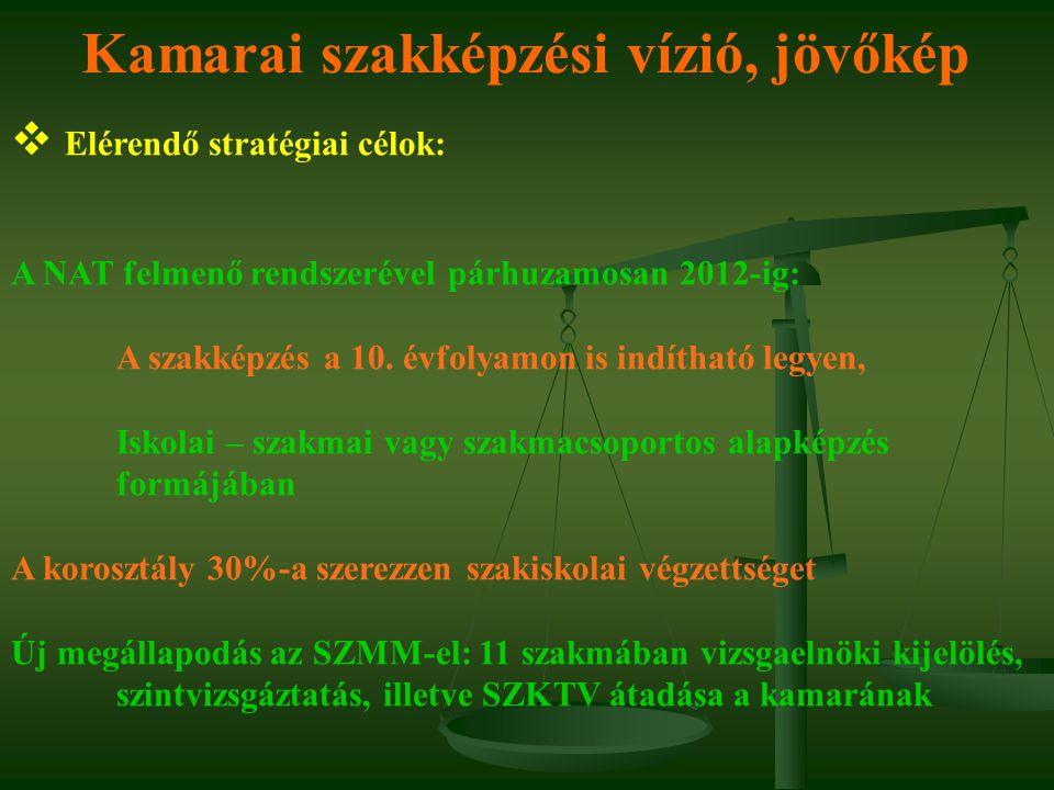 Kamarai szakképzési vízió, jövőkép  Elérendő stratégiai célok: A NAT felmenő rendszerével párhuzamosan 2012-ig: A szakképzés a 10. évfolyamon is indí