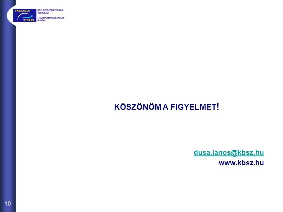 10 KÖSZÖNÖM A FIGYELMET ! dusa.janos@kbsz.hu www.kbsz.hu