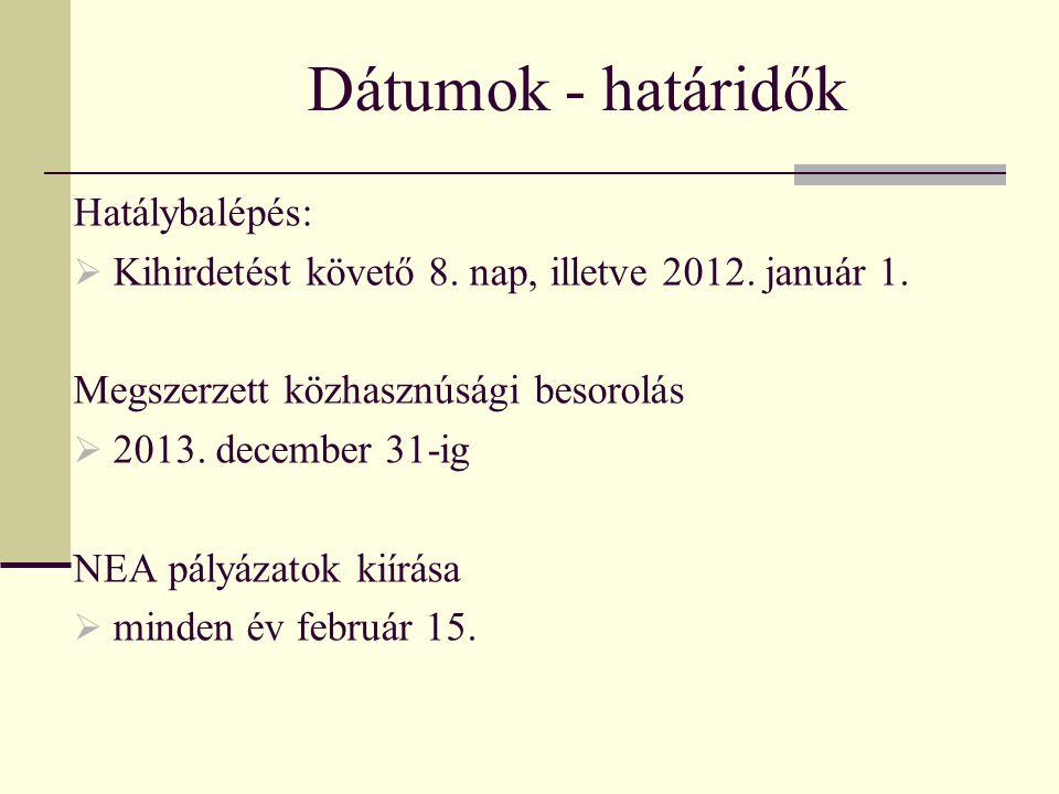 Dátumok - határidők Hatálybalépés:  Kihirdetést követő 8. nap, illetve 2012. január 1. Megszerzett közhasznúsági besorolás  2013. december 31-ig NEA