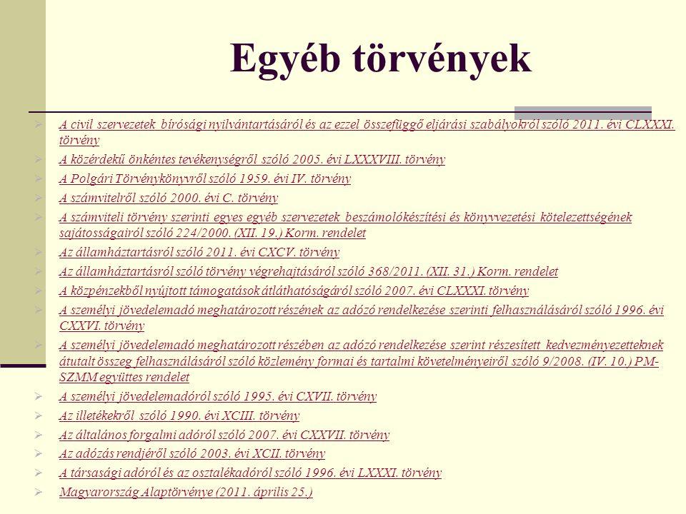 Egyéb törvények  A civil szervezetek bírósági nyilvántartásáról és az ezzel összefüggő eljárási szabályokról szóló 2011. évi CLXXXI. törvény A civil