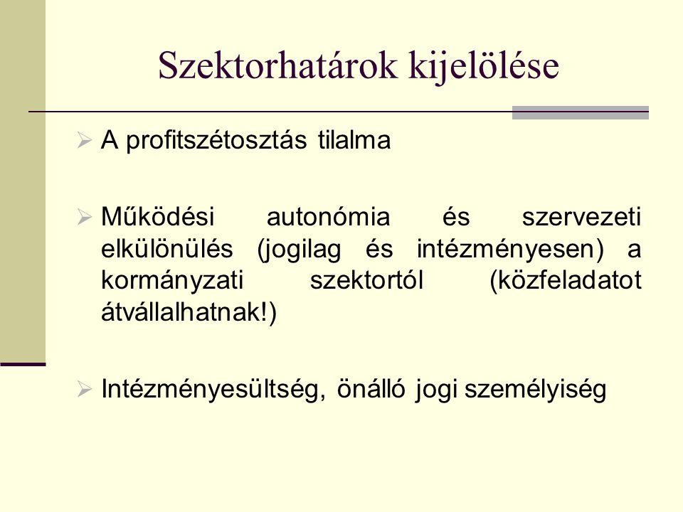 Szektorhatárok kijelölése  A profitszétosztás tilalma  Működési autonómia és szervezeti elkülönülés (jogilag és intézményesen) a kormányzati szektor