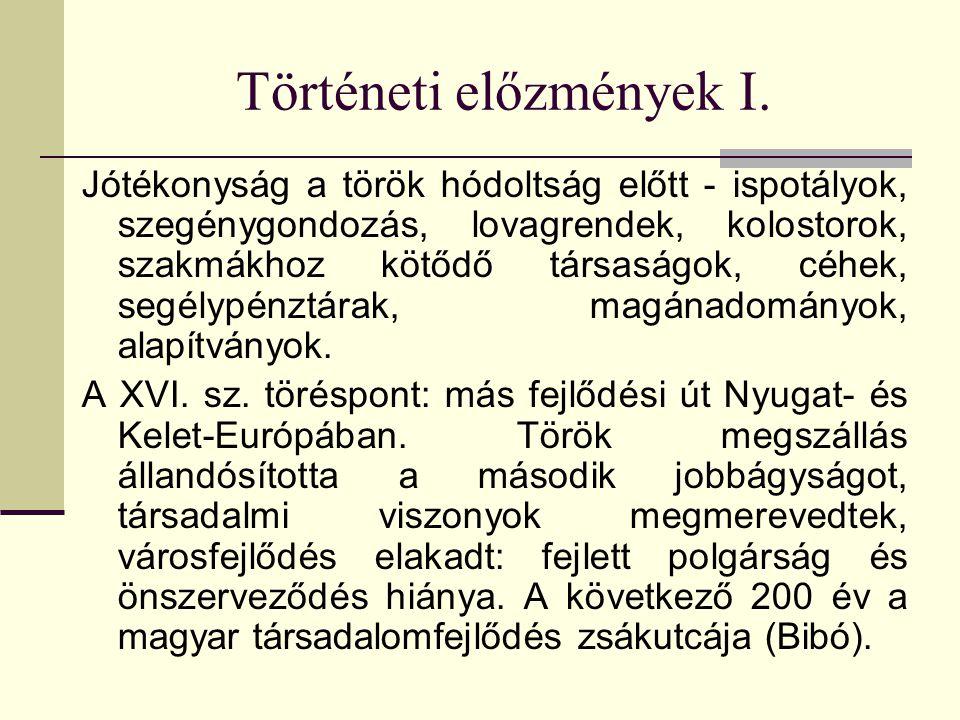Történeti előzmények I. Jótékonyság a török hódoltság előtt - ispotályok, szegénygondozás, lovagrendek, kolostorok, szakmákhoz kötődő társaságok, céhe