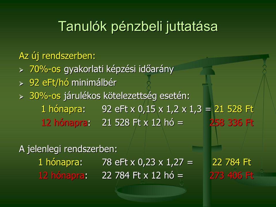 Tanulók pénzbeli juttatása Az új rendszerben:  70%-os gyakorlati képzési időarány  92 eFt/hó minimálbér  30%-os járulékos kötelezettség esetén: 1 hónapra: 92 eFt x 0,15 x 1,2 x 1,3 = 21 528 Ft 1 hónapra: 92 eFt x 0,15 x 1,2 x 1,3 = 21 528 Ft 12 hónapra: 21 528 Ft x 12 hó = 258 336 Ft 12 hónapra: 21 528 Ft x 12 hó = 258 336 Ft A jelenlegi rendszerben: 1 hónapra: 78 eFt x 0,23 x 1,27 = 22 784 Ft 1 hónapra: 78 eFt x 0,23 x 1,27 = 22 784 Ft 12 hónapra: 22 784 Ft x 12 hó = 273 406 Ft 12 hónapra: 22 784 Ft x 12 hó = 273 406 Ft