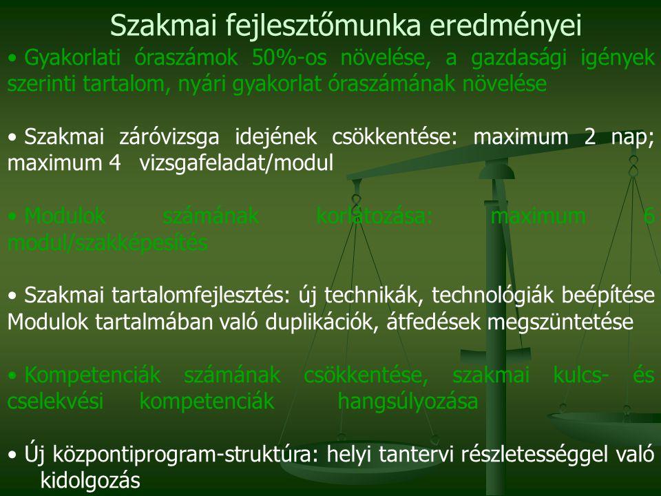 • Gyakorlati óraszámok 50%-os növelése, a gazdasági igények szerinti tartalom, nyári gyakorlat óraszámának növelése • Szakmai záróvizsga idejének csökkentése: maximum 2 nap; maximum 4 vizsgafeladat/modul • Modulok számának korlátozása: maximum 6 modul/szakképesítés • Szakmai tartalomfejlesztés: új technikák, technológiák beépítése Modulok tartalmában való duplikációk, átfedések megszüntetése • Kompetenciák számának csökkentése, szakmai kulcs- és cselekvési kompetenciák hangsúlyozása • Új központiprogram-struktúra: helyi tantervi részletességgel való kidolgozás Szakmai fejlesztőmunka eredményei