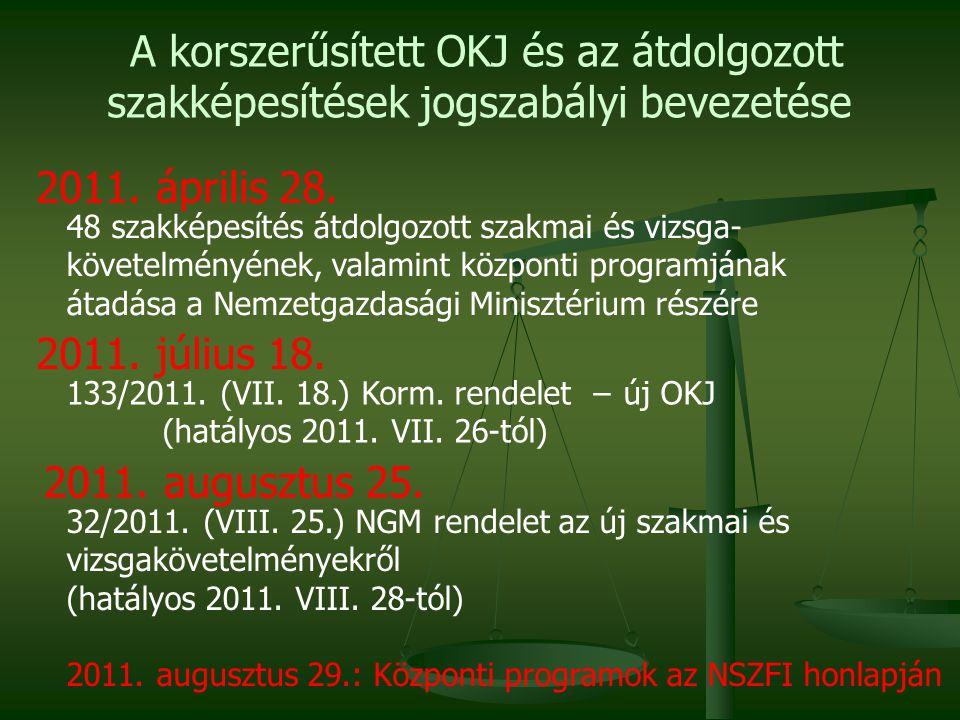 A korszerűsített OKJ és az átdolgozott szakképesítések jogszabályi bevezetése 2011.
