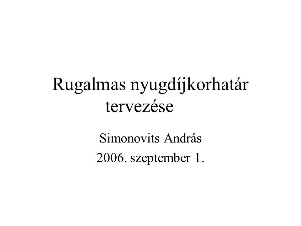 Rugalmas nyugdíjkorhatár tervezése Simonovits András 2006. szeptember 1.