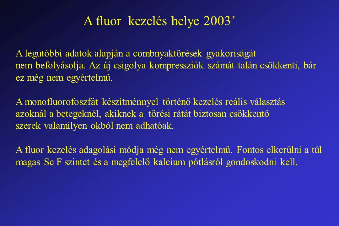 A fluor kezelés helye 2003' A legutóbbi adatok alapján a combnyaktörések gyakoriságát nem befolyásolja.