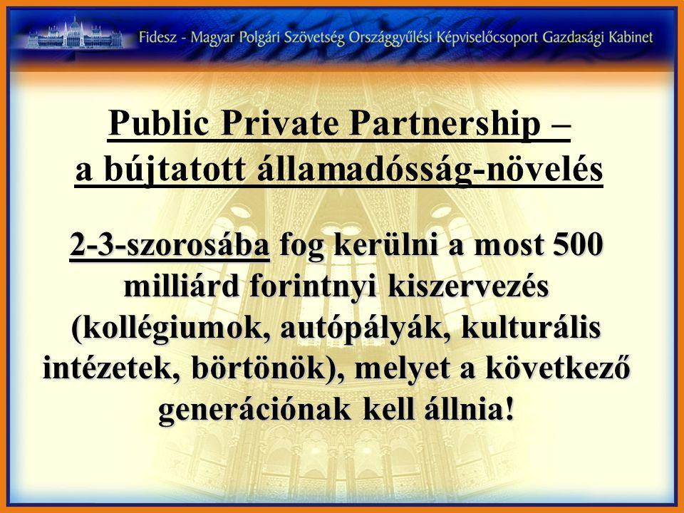 Public Private Partnership – a bújtatott államadósság-növelés 2-3-szorosába fog kerülni a most 500 milliárd forintnyi kiszervezés (kollégiumok, autópályák, kulturális intézetek, börtönök), melyet a következő generációnak kell állnia!