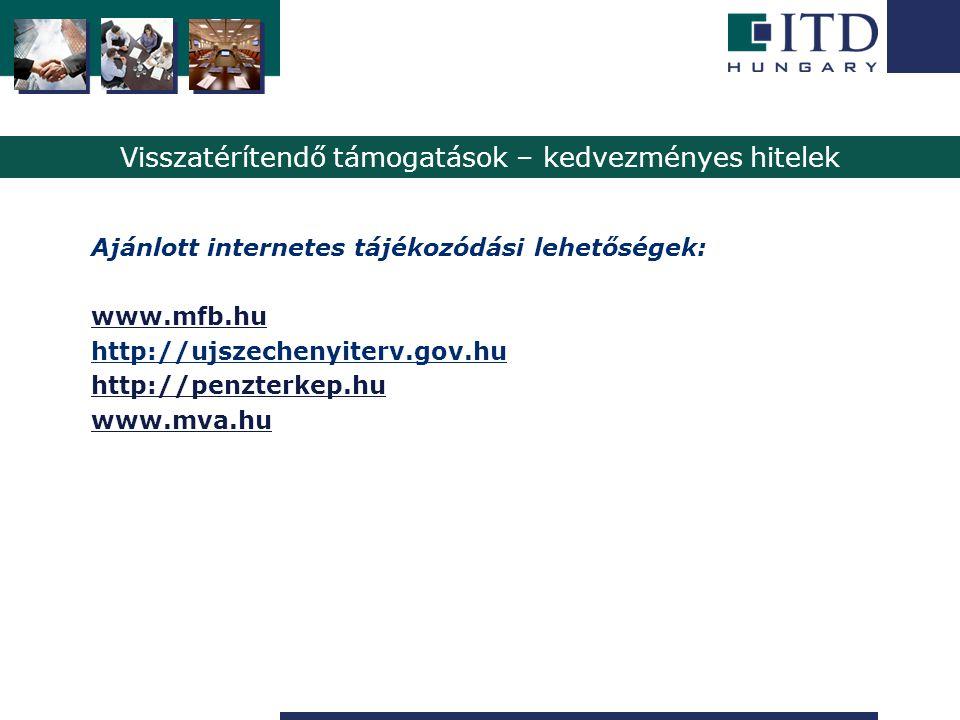 Szigetszentmiklós Visszatérítendő támogatások – kedvezményes hitelek Ajánlott internetes tájékozódási lehetőségek: www.mfb.hu http://ujszechenyiterv.g