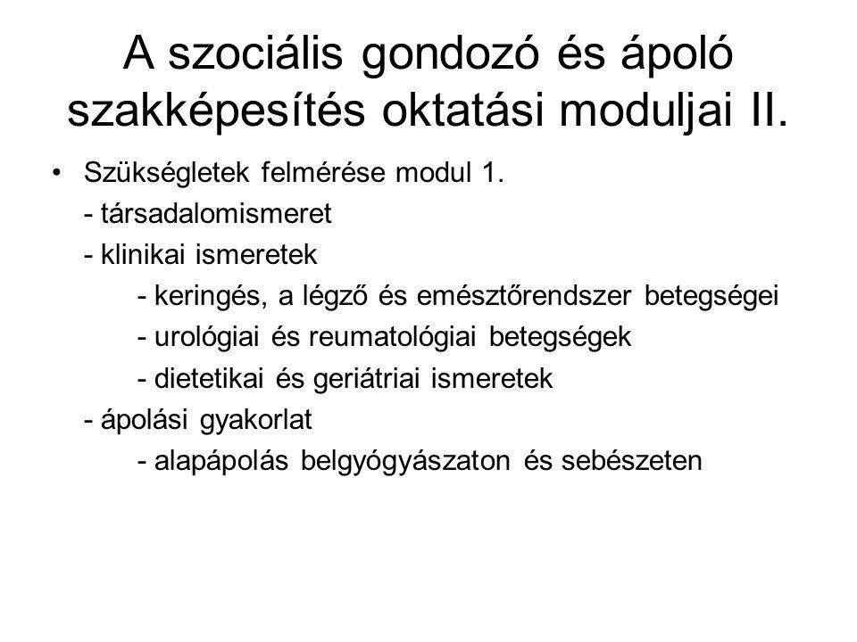 A szociális gondozó és ápoló szakképesítés oktatási moduljai II. •Szükségletek felmérése modul 1. - társadalomismeret - klinikai ismeretek - keringés,
