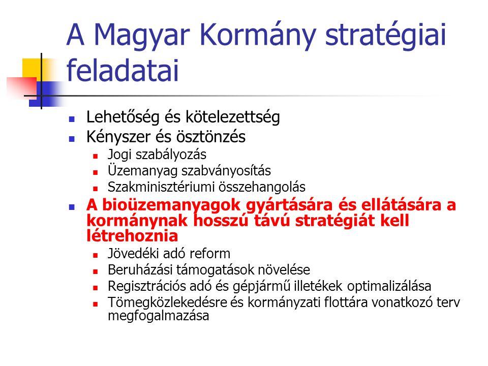 A Magyar Kormány stratégiai feladatai  Lehetőség és kötelezettség  Kényszer és ösztönzés  Jogi szabályozás  Üzemanyag szabványosítás  Szakminiszt