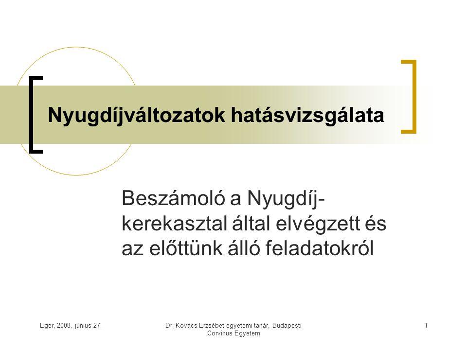 Eger, 2008. június 27.Dr. Kovács Erzsébet egyetemi tanár, Budapesti Corvinus Egyetem 1 Nyugdíjváltozatok hatásvizsgálata Beszámoló a Nyugdíj- kerekasz