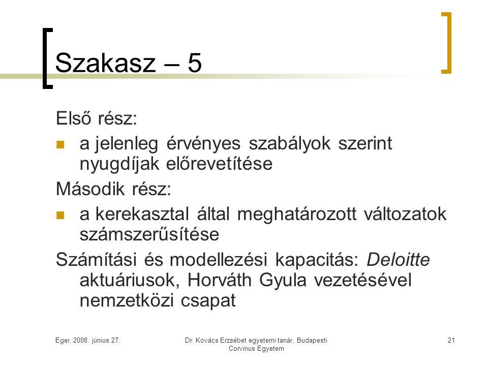 Eger, 2008. június 27.Dr. Kovács Erzsébet egyetemi tanár, Budapesti Corvinus Egyetem 21 Szakasz – 5 Első rész:  a jelenleg érvényes szabályok szerint