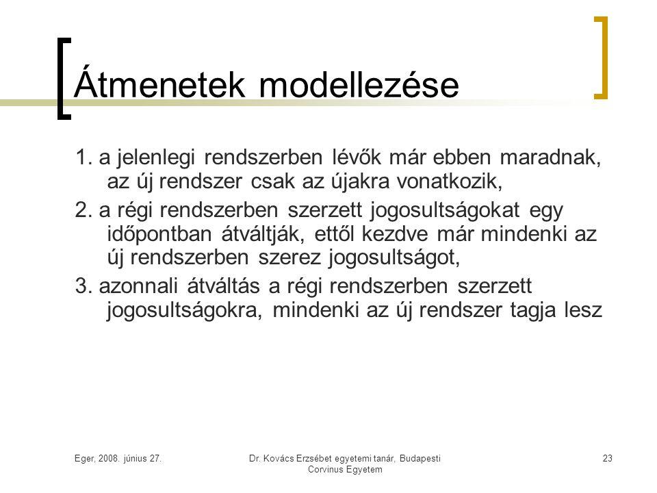 Eger, 2008. június 27.Dr. Kovács Erzsébet egyetemi tanár, Budapesti Corvinus Egyetem 23 Átmenetek modellezése 1. a jelenlegi rendszerben lévők már ebb