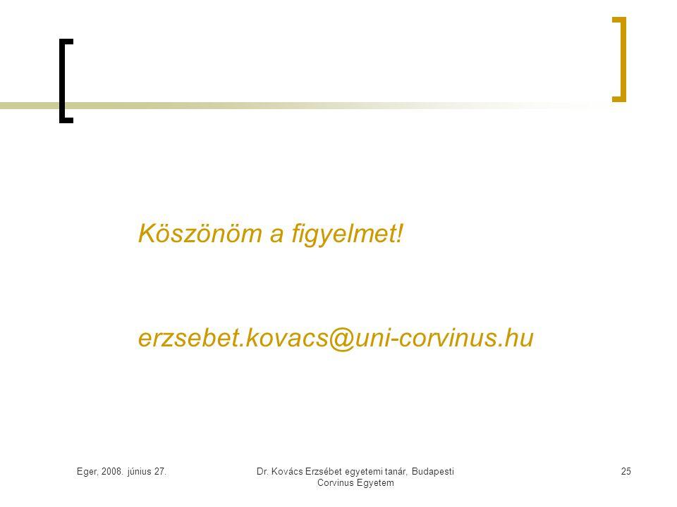 Eger, 2008. június 27.Dr. Kovács Erzsébet egyetemi tanár, Budapesti Corvinus Egyetem 25 Köszönöm a figyelmet! erzsebet.kovacs@uni-corvinus.hu