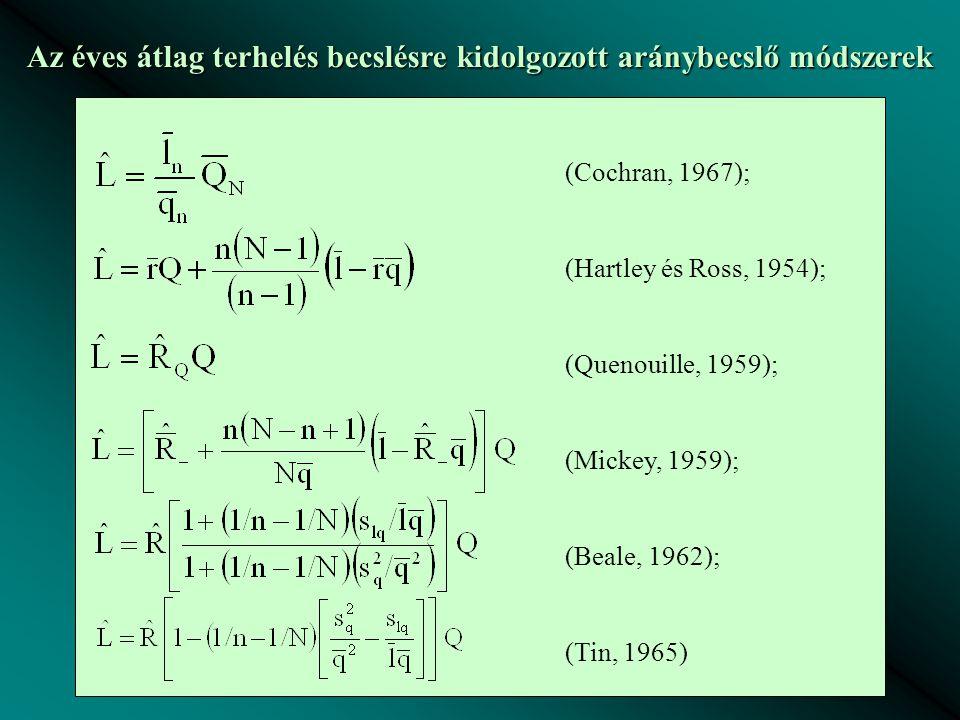 Az éves átlag terhelés becslésre kidolgozott aránybecslő módszerek (Cochran, 1967); (Hartley és Ross, 1954); (Quenouille, 1959); (Mickey, 1959); (Beal