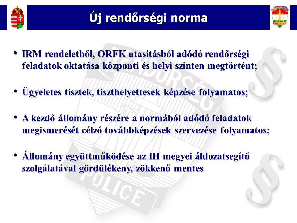 3 Új rendőrségi norma • IRM rendeletből, ORFK utasításból adódó rendőrségi feladatok oktatása központi és helyi szinten megtörtént; • Ügyeletes tiszte