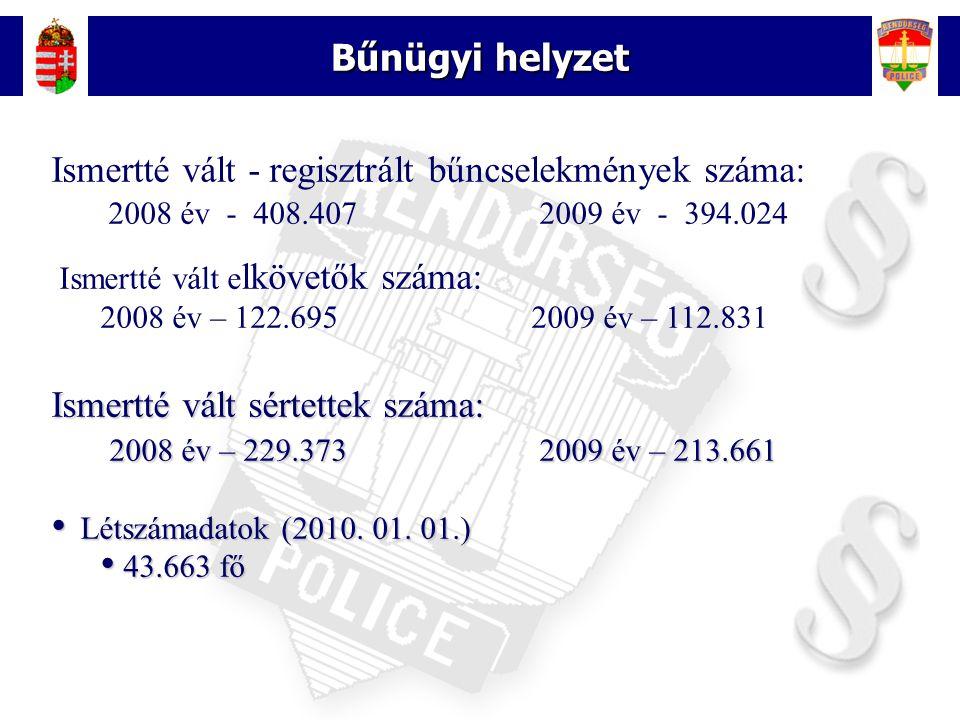 4 Bűnügyi helyzet Ismertté vált - regisztrált bűncselekmények száma: 2008 év - 408.407 2009 év - 394.024 Ismertté vált e lkövetők száma: 2008 év – 122