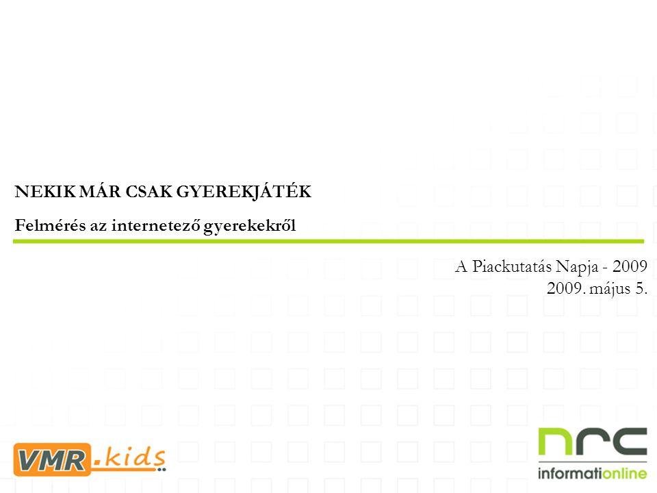 NEKIK MÁR CSAK GYEREKJÁTÉK Felmérés az internetező gyerekekről A Piackutatás Napja - 2009 2009.