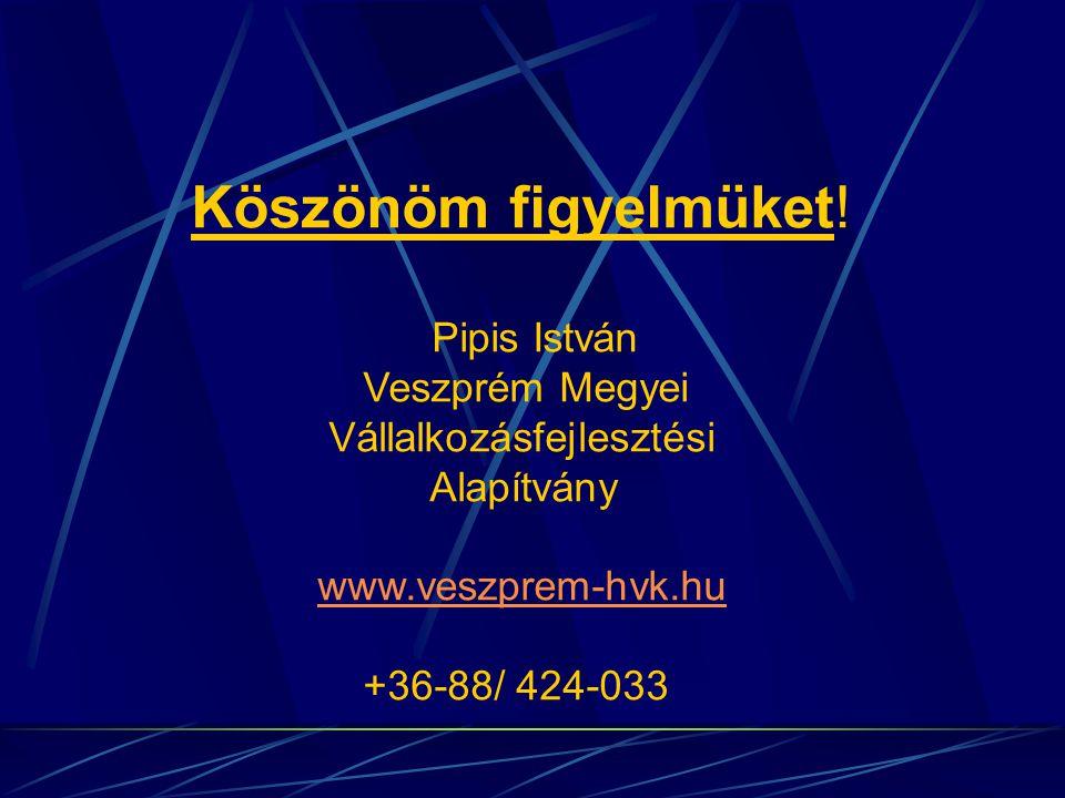 Köszönöm figyelmüket! Pipis István Veszprém Megyei Vállalkozásfejlesztési Alapítvány www.veszprem-hvk.hu +36-88/ 424-033