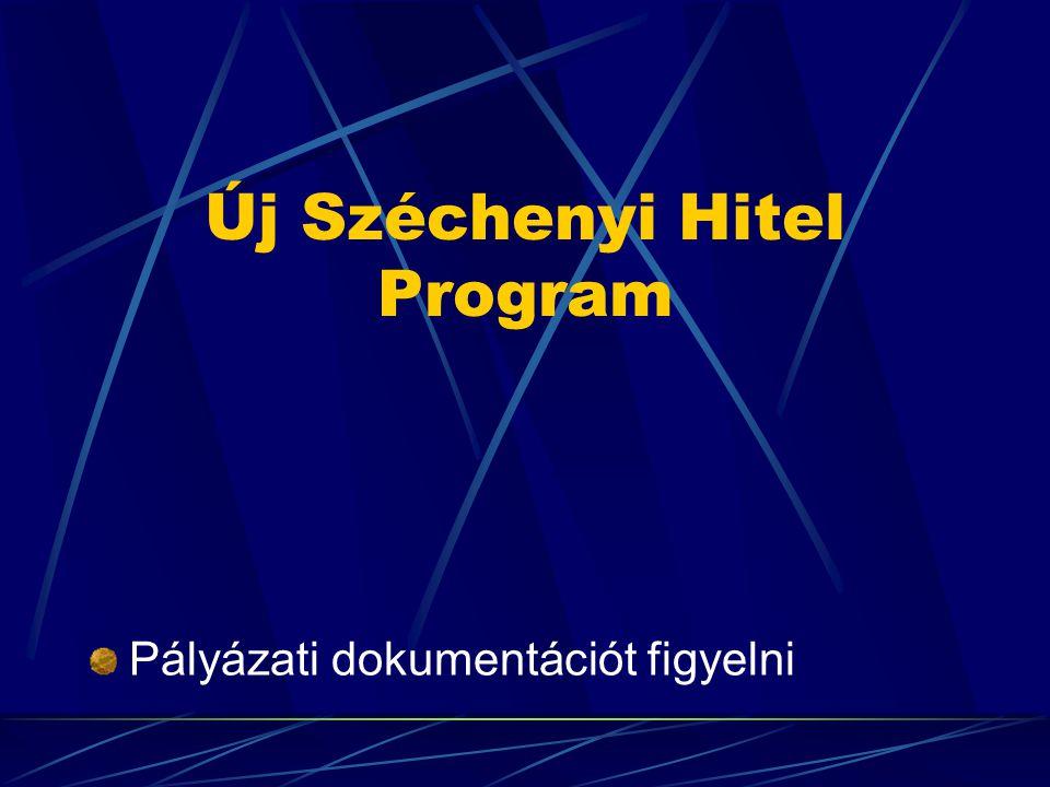 Új Széchenyi Hitel Program Pályázati dokumentációt figyelni