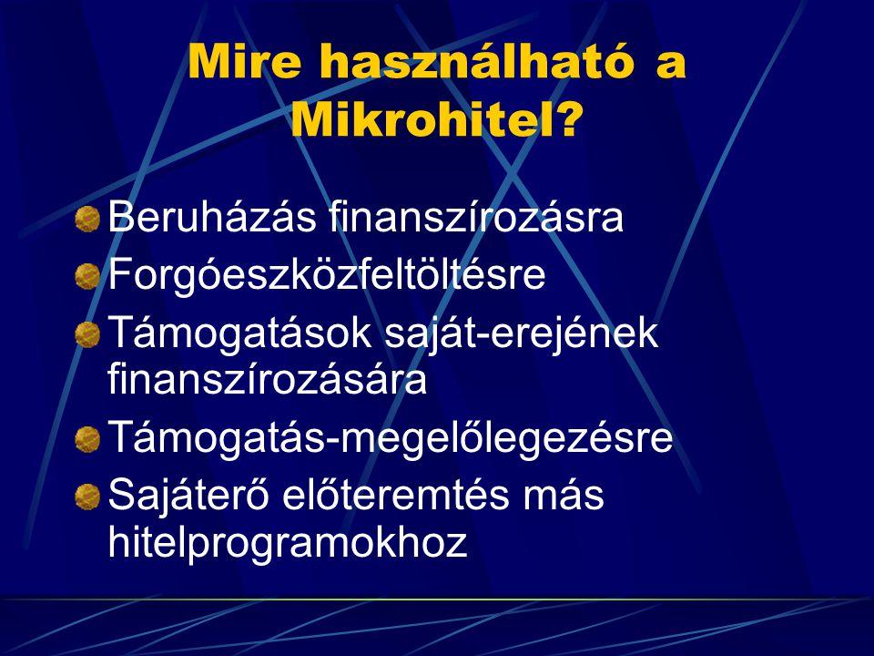 Mire használható a Mikrohitel? Beruházás finanszírozásra Forgóeszközfeltöltésre Támogatások saját-erejének finanszírozására Támogatás-megelőlegezésre
